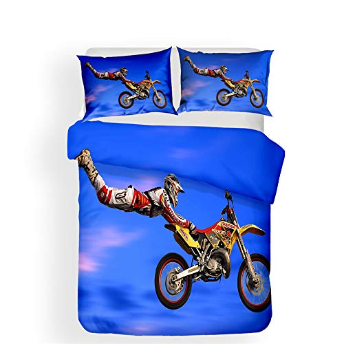 Bedding sets 3D Motorbike Highway Knight Limit Sports Style Microfiber Men Teen Boys Kids Duvet Cover and Pillowcases (motorcycle 03, Single 135x200 cm)