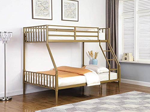 Kidron Twin Over Full Fluted Bunk Bed Matte Gold 401667 Sophisticated Twin Over Full Metal Bunk Bed in Matte Gold Finish (401667 - Top)