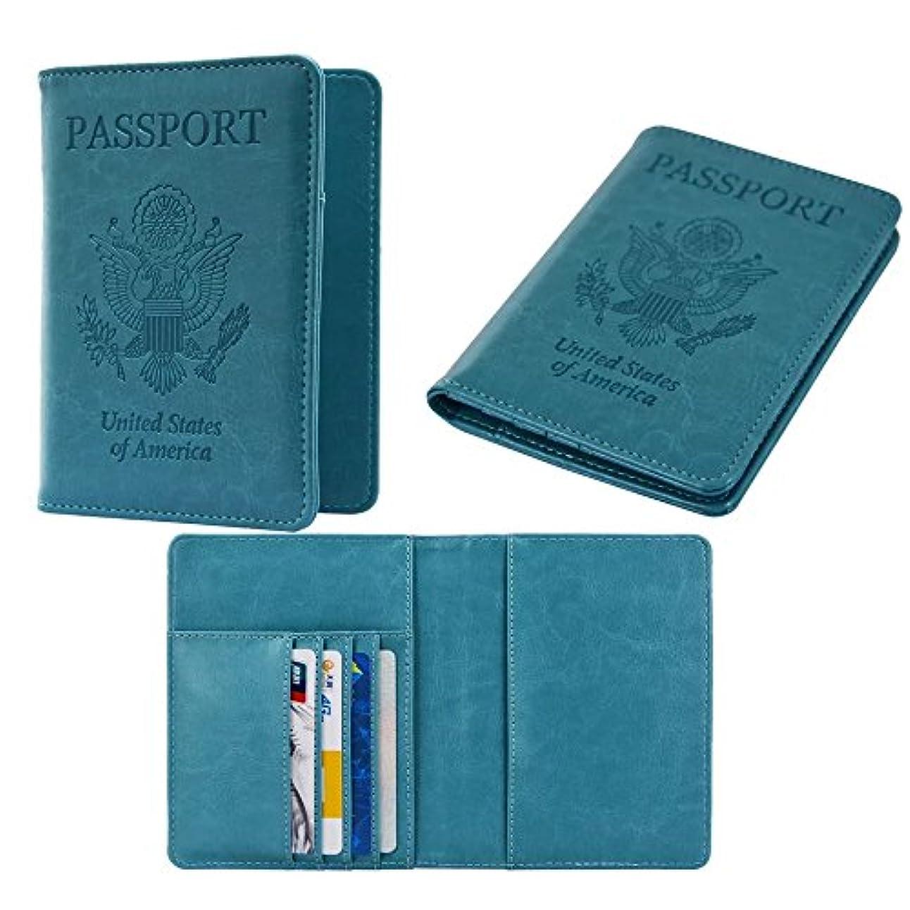 威するスリッパアナウンサーRFID Blocking Leather Passport Holder Wallet Case Cover PU For Men and Women パスポートケース ホルダー トラベルウォレット スキミング防止 安全な海外旅行用 高級PUレザーパスポートカバー 多機能収納ポケット 名刺 クレジットカード 航空券 エアチケット (青)