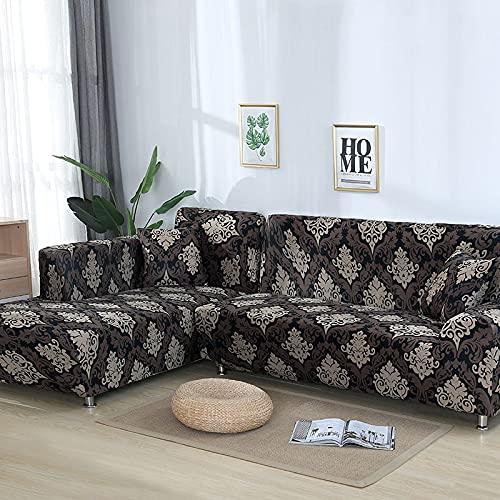 WXQY Patrón geométrico en Forma de L combinación Funda de sofá sofá Toalla Sala de Estar Todo Incluido Cubierta de sofá a Prueba de Polvo Tela A17 2 plazas