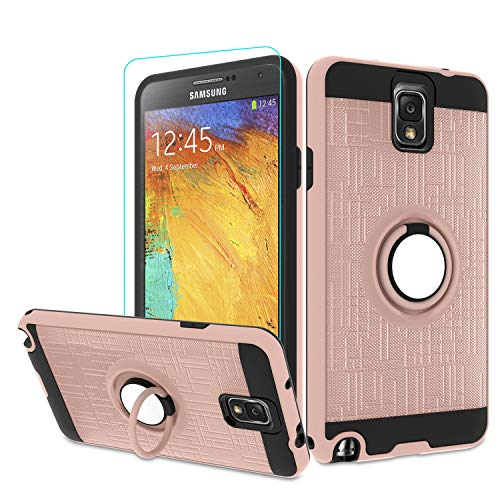 Atump Galaxy Note 3 Case, Note 3 Phone Case with HD Screen Protector, 360 Degree Rotating Ring Holder Kickstand Bracket Cover Phone Case for Samsung Galaxy Note III,N9000,N9005,Note 3 Rose Gold