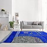 Tapis Style Berbère 240x350 cm Rectangulaire Beni OUARAIN V Bleu Grand Salon Noué Main
