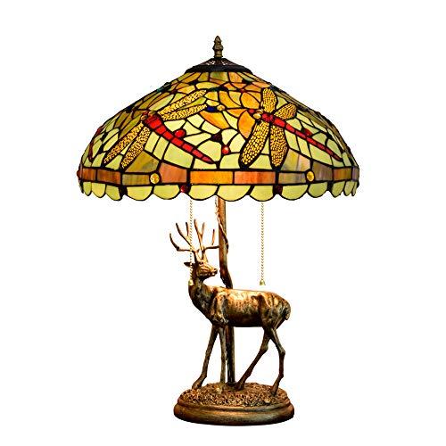 Elch Libelle Tiffany Tischlampe Elch Nachttischlampe Barock Tischlampe CE-Zertifizierung 2 Kopf Harz...
