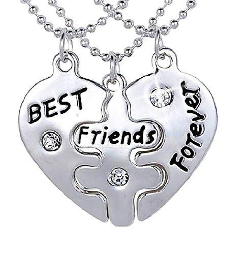 Inception Pro Infinite Collane Best Friends - Migliori Amici/Migliori Amiche (Cuore Puzzle - 3 Pezzi)