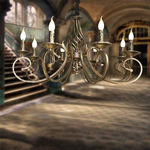 Suspension Lustre Rétro Pendentif Lampe E14 Fer Abat-Jour Industrielle Vintage Plafond Traditionnelle En Métal Réglable En Hauteur Restaurant Salon De Style De Campagne Chambre Cafe Bar,Laiton,8 heads