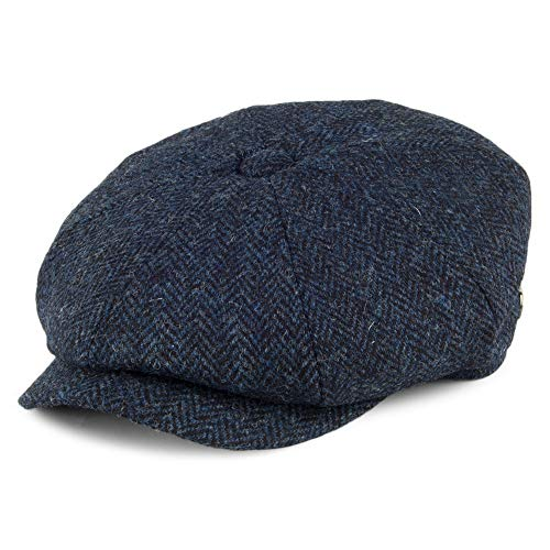 Gorra Newsboy Tweed JaxonJames Negro Harris Skye Azul de XL wvmNn08O