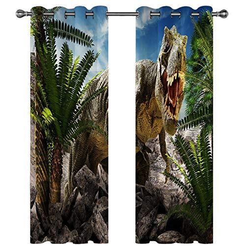 Cortinas con Patrón De Dinosaurio Realista En 3D Cortinas Decorativas Personalizadas De Estilo Europeo Super Sombreado Adecuado para Hoteles Dormitorio Infantil De 36 Piezas