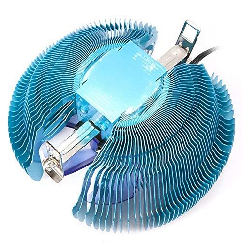 ZJYSM 3 Pin 12V 90mm LED Azul retroiluminado CPU Retroceso CPU Escalofriante Fin de Aleta Enfriador de compresión Desviador de Calor con Grasa de silicio térmico para Intel 115X Intel 775X AMD