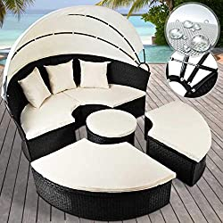 Poly Rattan Sun Island | Color choice, XXL Ø 180 cm, with 4 seats and 1 table, incl. Cushions, hinged sunroof | Garden lounger, Garden furniture set, Rattan lounge, Seat, Seating, Seating set (Black)