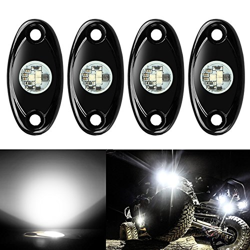 4 Pods LED Rock Lights, Ampper Waterproof LED Neon Underglow Light for Car Truck ATV UTV SUV Jeep Offroad Boat Underbody Glow Trail Rig Lamp (White)