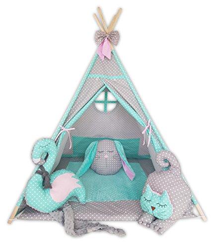 Kinder Teepee Tipi Set für Kinder Spielzeug drinnen draußen Spielzelt Zelt Tipi-Set Indianer Indianertipi mit Fenster usw. Tipi mit und ohne Zubehör erhältlich (Tipi mit Elementen, Minte Katze)