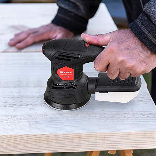 Meterk 5 Inch Random Orbit Sander 2.5A Orbital Sander with 12Pcs Sandpapers, 12000RPM, 6 Variable Speed, Efficient Dust Collector, Ideal for Finishing, Sanding, Polishing Wood