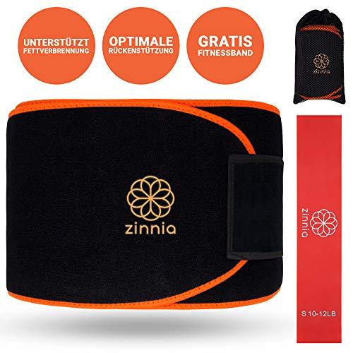 zinnia® Fitness Gürtel - Bauchtrainer zum Abnehmen in Universalgröße - mit Terraband für weitere Übungen - inklusive Transporttasche zum Anbringen an den Gürtel