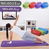 Yogamatte - Rutschfest Größe 180 x 60 cm x 1.0 cm in verschiedenen Farben mit Tragegurt - Pilates Gymnastikmatte, Fitnessmatte, Sportmatte