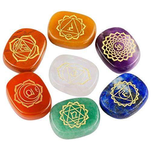 Nupuyai 7 Chakra Edelsteine Set Heilsteine Energiesteine mit Symbolen für Reiki Heilung Meditation Balancing