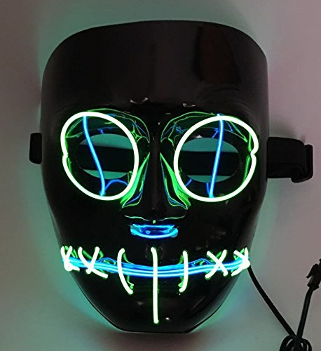 SOUTHSKY LED Máscara Black Face Eyes Discharge Máscara EL Wire Light Up For Halloween Costume Cosplay Party