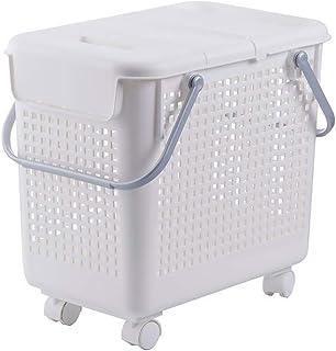 RTYUI Panier À Linge en Plastique Multifonctionnel avec Couvercle, Toilette De Salle De Bain Panier De Rangement pour Vête...