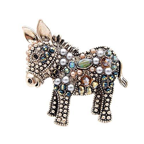 YSCSTORE HumoliStore Cute Bead Donkey Brooch, 4.0cm*4.0cm Female Fashion Animal Pin, Elegant Outerwear Accessory Gift Beautiful and elegant (Metal color : Brown)
