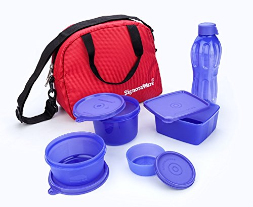 Signoraware Sling Plastic Lunch Box With Red Bag Set, 5-Pieces, Violet