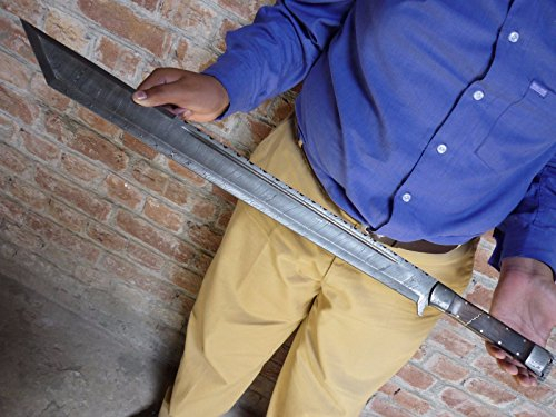 Custom Hand Forged Damascus Steel Machete Sword/Tanto/GLADIOUS Hunting Sword
