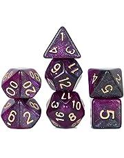 FLASHOWL Polyedral Dice DND tärningar stjärnhimmel tärningar mjölkiga sätt tärningar spel bordsspel tärningsset D20, D12, D10, D8, D6, D4 och DND RPG MTG tärningar speltärningar (7 delar lila svart)
