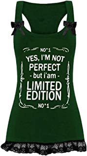 Big Sales for Women! Wintialy Women Sexy Sleeveless Letters Print Lace Patchwork Cotton Tank Top