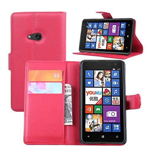 Tasche für Nokia Lumia 625 Hülle, Ycloud PU Ledertasche Flip Cover Wallet Case Handyhülle mit Stand Function Credit Card Slots Bookstyle Purse Design rote