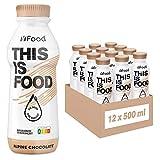YFood Schokolade   Laktose- und glutenfreier Nahrungsersatz   33g Protein, 26 Vitamine und Mineralstoffe   Leckere Astronautennahrung - 25% des Kalorienbedarfs   Trinkmahlzeit, 12 x 500 ml