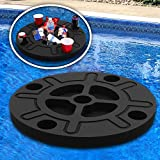 Polar Whale Ship Wheel Drink Holder Floating Refreshment Table Tray for Pool or Beach Party Float Lounge Durable Black Foam 9 Compartment UV Resistant with Cup Holders 2 Feet