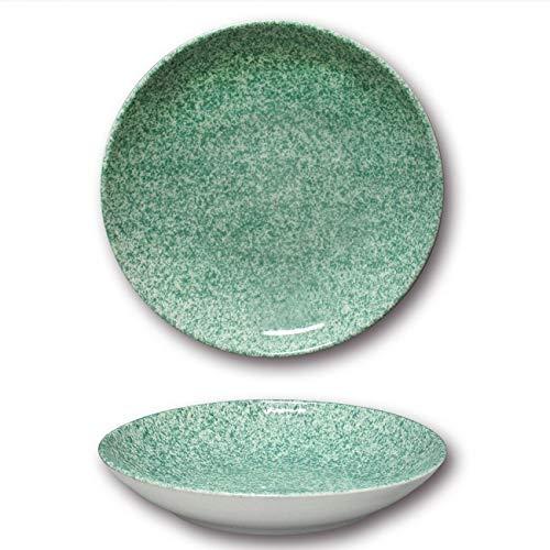 Assiettes à couscous porcelaine - D 26 cm - Moucheté Vert x 6