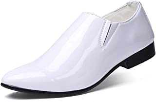 Oap Shoes For Men Men's Business Oxford Casual Personality Fashion Show Off The Color Pointed Toe Patent Leather Formal Shoes dt (Color : White, Size : 43 EU)