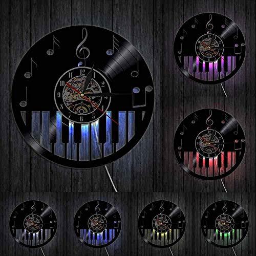 WTTA Vinilo Reloj de Pared Teclado de Piano Decoración del hogar Disco de partituras Piano Clave de Sol Notas Musicales Músico Art Deco Regalos