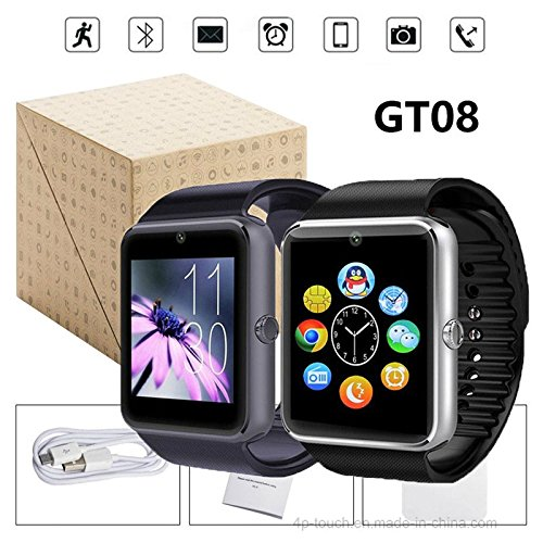 Smartwatch GT08 Plus model 2018 Bluetooth Android / iOS ondersteunt sim- en micro-SD tot 32 GB frontcamera