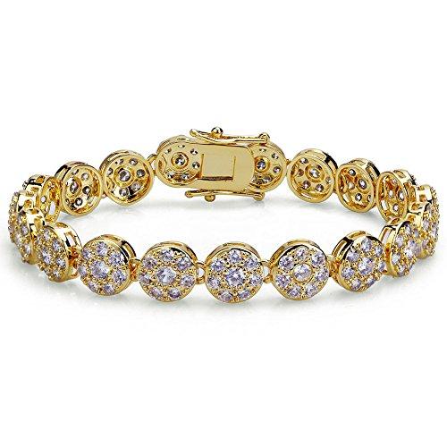 TOPGRILLZ Hip Hop 17K Iced Out CZ Zircon Solitaire Cluster Lab Diamond Tennis Link Bracelet (Gold 8')