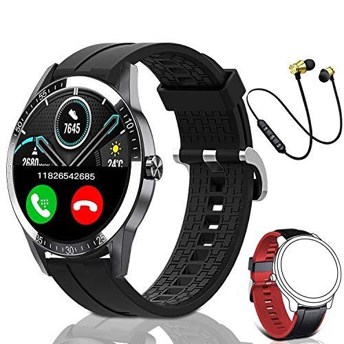 Smartwatch, Reloj Inteligente Mujer Hombre Niños Fitness Tracker, Pulsera de Actividad Inteligente Contador de Caloría Monitoreo Pulsómetros Auriculares Bluetooth Deportivos, para Android iOS (Negro)