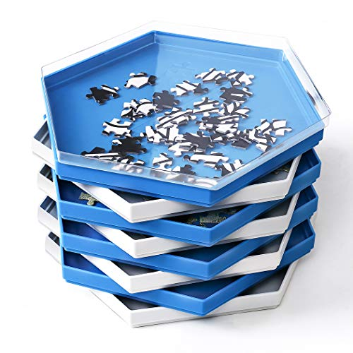 Becko Stackable Puzzle Sorting Trays Jigsaw Puzzle Sorters with Lid Puzzle Accessory for Puzzles Up to 1500 Pieces, 8 Hexagonal Trays in White & Blue