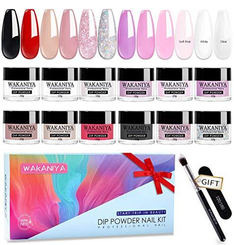 12 Farbe Nagelpuder Set Nude French Nails Art System Dipping Nails Powder Keine Notwendigkeit UV-LED Geheilt 120g/4.2oz