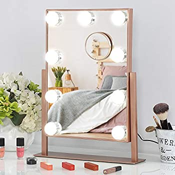 Lighted Dimmable Hollywood Vanity Makeup Mirror with 10x Magnification