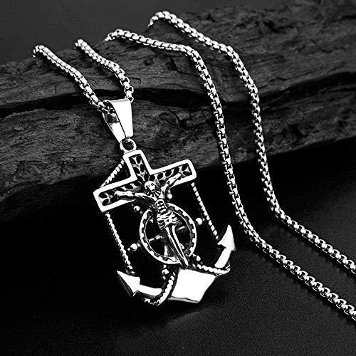 NC110 Collar de Cadena de Ancla para Hombre, Collar con Colgante, Collar Cruzado, Collar de Acero Inoxidable, joyería para Hombre YUAHJIGE