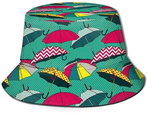 BONRI Sombrero de Cubo Unisex Moda Paraguas de Colores Gorra de Pescador Plegable UV Negro