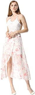 Womens V Neck Backless Spaghetti Strap Irregular Hem Floral Maxi Party Dress