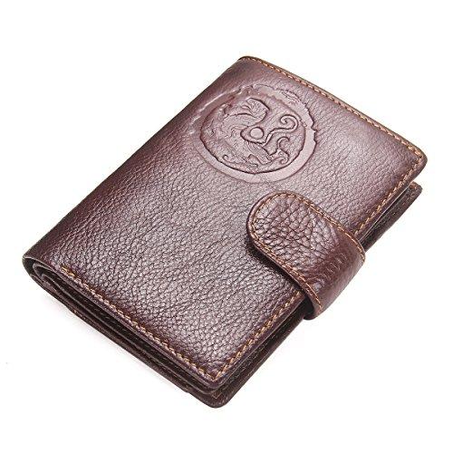 Portefeuille en cuir pour passeport Pour homme, marron foncé (marron) - 6787373