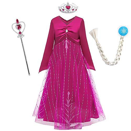 IBAKOM Conjunto de accesorios para disfraz de princesa para nias y nias, de reina de la nieve, cosplay, carnaval, Navidad, Halloween, manga larga, vestido y pantalones