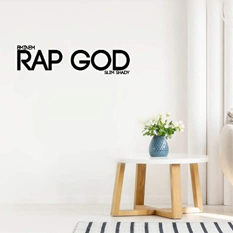 Vinyl Wall Sticker Mural Letter Quotes Wall Decal Eminem Rap God Slim Shady For Living Room Bedroom Home Kitchen