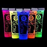 Pintura fluorescente de neón para la cara y el cuerpo, brilla con UV; set de 5tubos de 10 ml