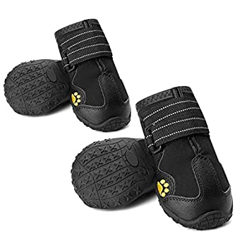 CUTEUP Dog Boots Waterproof Dog Shoes for Outdoor with Reflective Trim Rugged Anti-Slip Rubber Soles 4PCS  3 Black