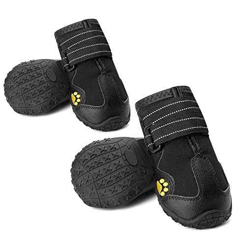 CUTEUP Dog Boots Waterproof Dog Shoes for Outdoor with Reflective Trim Rugged Anti-Slip Rubber Soles 4PCS (6, Black)