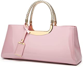 Fashion European & American Women Handbags Solid Color Patent Leather Shoulder Bag Bride Bag Candy Color & Zipper PU Messenger Jelly Package (Color : Pink)