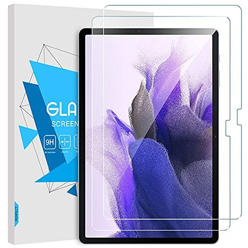 TiMOVO 2 Piezas Películas Protectoras para Tablet Compatible con Galaxy Tab S7 FE 2021 12.4 / Galaxy Tab S7 Plus, Protector de Pantalla de HD Claro Dureza 9H Vidrio Templado Antiarañazos y Antihuellas