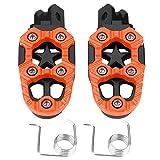 Reposapiés - 1 par de pedales de apoyo de aluminio para motocicleta, pedestales, pedales, 8 mm Orificios de montaje universales (naranja y plateado) (Color : Naranja)